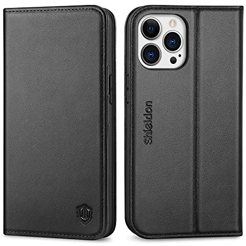 """SHIELDON Case for iPhone 13 Pro 5G, Genuine Leather Wallet Case RFID Blocking Credit Card Holder Folio Magnetic Kickstand Shockproof Cover Compatible with iPhone 13 Pro 5G (6.1"""" 2021 Release) - Black"""