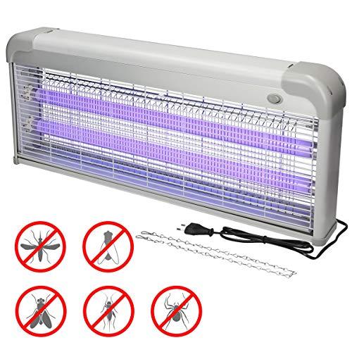 ECD Germany Lámpara de Insectos UV Eléctrica 2000-2200V Tensión de Red - 40W - 200m² de Superficie Luz Ultravioleta Anti-Mosquitos Trampa Mata-Insectos Polillas Efectiva sin Productos Químicos Tóxicos
