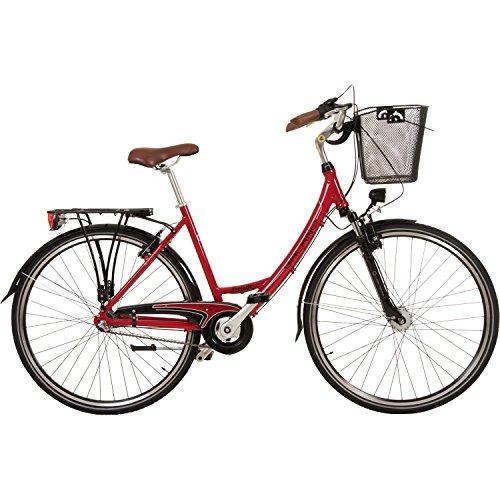 Galano 28 Zoll Prelude Citybike Stadt Fahrrad Licht 3 Gang Nexus, Farbe:rot - 2
