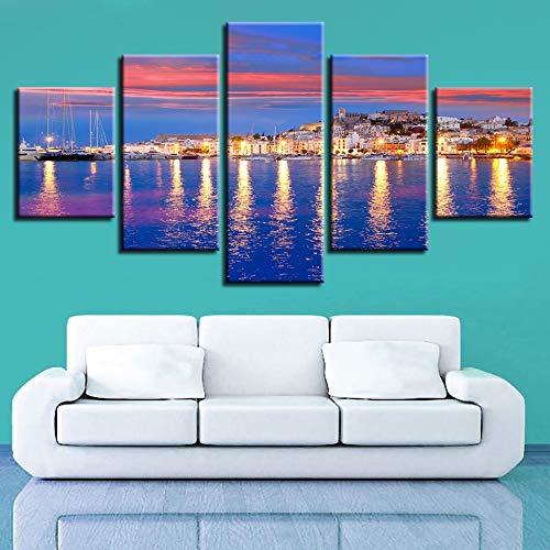 CNCN Lienzo Arte de la Pared Pinturas Decoración del hogar Modular 5 Unidades Hermosa Isla de IbizaNoche Vista al Mar Imágenes HD Impresiones Cartel 20x35cm 20x45cm20x55cm