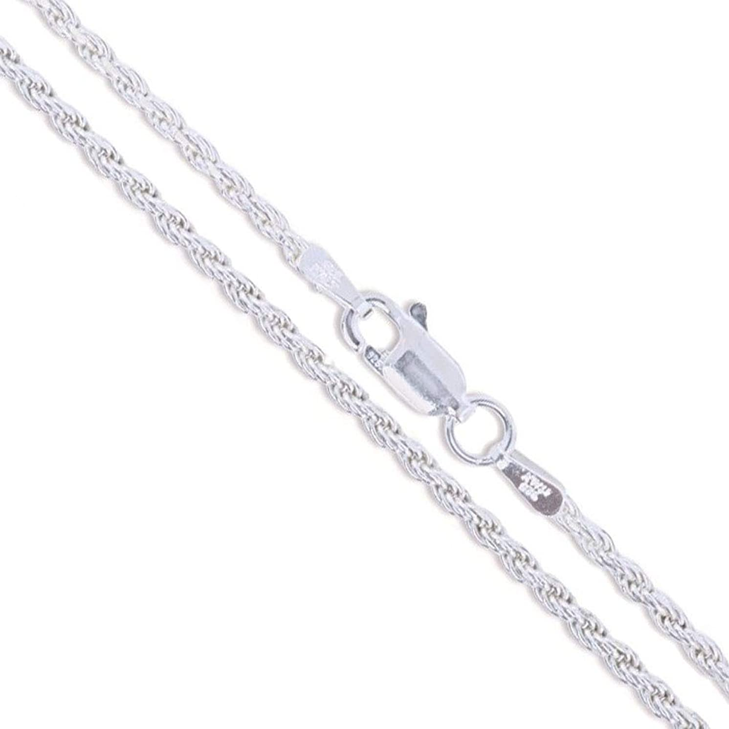 Sterling Silver Diamond-Cut Rope Chain 1.1mm 1.4mm 1.5mm 1.7mm 2.2mm Solid 925 Italy New Necklace