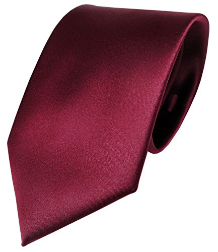 TigerTie Designer Satin Krawatte in rot bordeaux einfarbig uni