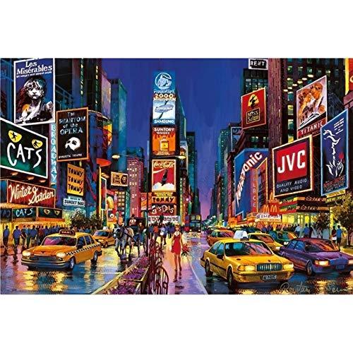 DJHOLI Puzzle de Rompecabezas de Arte Grande para niños, Series de paisajes Famosos Puzzle de Madera Puzzle 2000 Piezas - Times Square, Nueva York (30 Pulgadas x 41.7 Pulgadas)