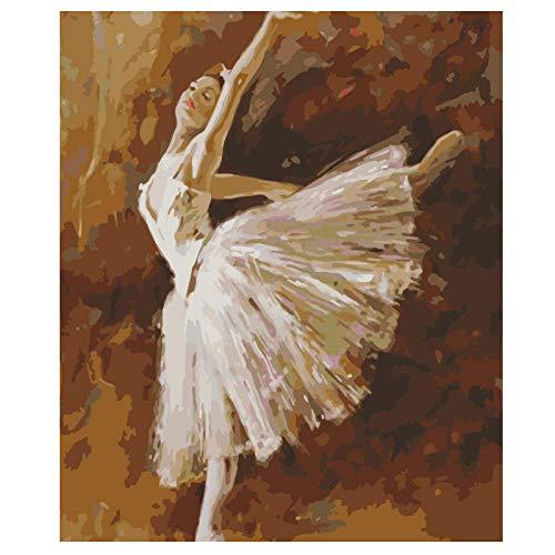 Wxswz Ballerina, figuur, knutselen, schilderen, wand, kunst, foto, acryl, voor de decoratie van het huis, 40 x 50 cm, zonder lijst