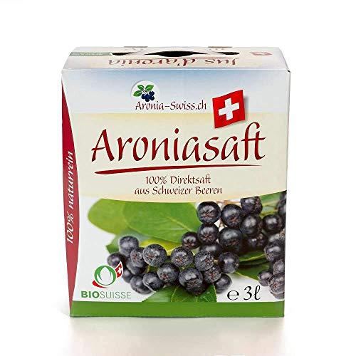 Aronia-Swiss Aroniasaft 3 Liter - 100% Bio Direktsaft - ohne Konservierungsstoffe, ohne Zuckerzusatz