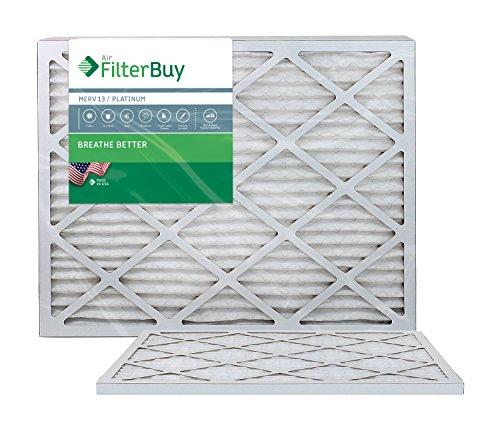 FilterBuy 20x30x1 Air Filter MERV 13, Pleated HVAC AC Furnace Filters (2-Pack, Platinum)
