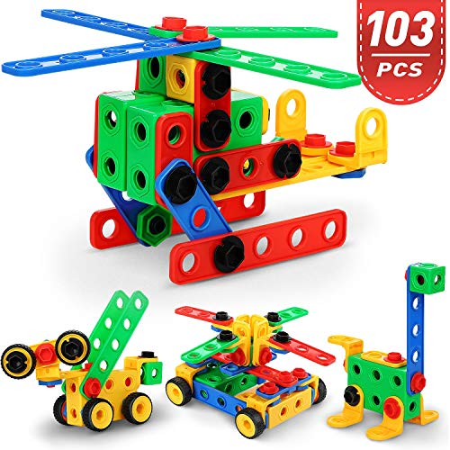 FiveJoy 103 PCS Big Construction Building Toys, Creativity Educational Children's Toys for Toddlers, Firm Building Blocks Set & STEM Learning Gift with Storage Boxfor Age 3+ Boys & Girls