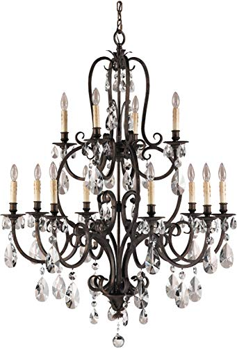 Hot Sale Murray Feiss F2229/8+4ATS Crystal 12 Light Chandelier from the Salon Maison Collection with Not Included S, Aged Tortoise Shell
