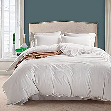 TanNicoor 3-piece Duvet Cover Set with Zipper Closure,100% Washed Cotton Duvet Cover, Cute Ball Edging Design, Ultra Soft and Easy Care,Simple Style Bedding Set (King, White)