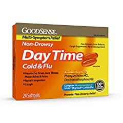 EFFECTIVE: Compare GoodSense DayTime Cold and Flu Multi-Symptom Relief to the active ingredients of Vicks DayQuil Cold & Flu. The active ingredients of this cold and flu medicine are Acetaminophen 325 mg, Phenylephrine HCI 5 mg, and Dextromethorphan ...