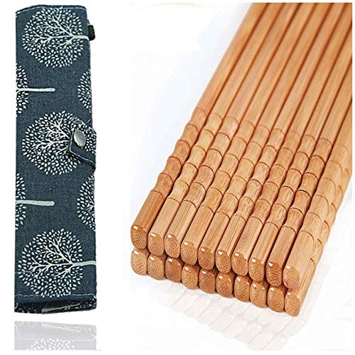 10-Pairs Reusable Bamboo Chopsticks Set, Travel Chopsticks with Case Reusable Chinese Korean Japanese Bamboo Portable Chopsticks Utensil Dishwasher Safe