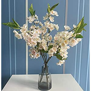 6 Pcs Artificial Cherry Blossom Branches Peach Blossom Stems Silk Short Fake Flower Arrangements for Home Wedding Decoration, 20 Inch( Light Pink)