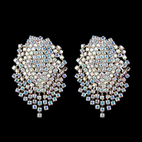 SONGK Pendientes Grandes de Diamantes de imitación para Mujer, Pendientes Colgantes Grandes de Cristal a la Moda para Mujer, joyería para Fiesta de Noche, Regalo de Boda