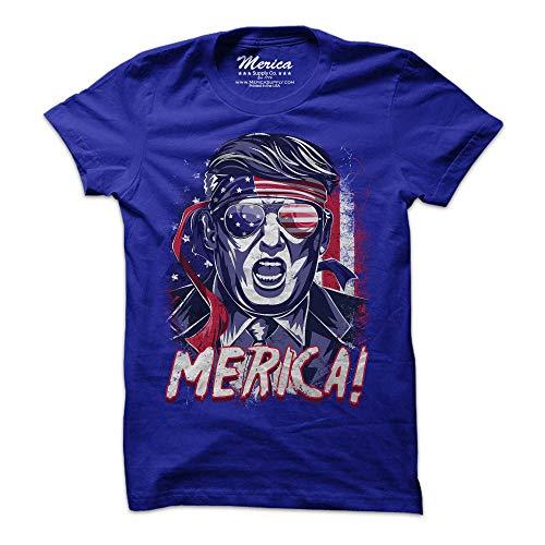 Patriotic Donald Trump Shirt Epic MAGA American Flag USA Tee (Large, Blue)