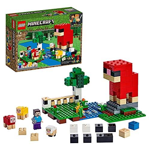 LEGO 21153 Minecraft LaFermeàLaine, Set de Construction avec Figurines de Mouton et Figurine de Steve