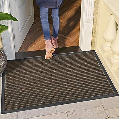 """DEXI Door Mat Front Indoor Outdoor Doormat,Small Heavy Duty Rubber Outside Floor Rug for Entryway Patio Waterproof Low-Profile,17""""x29"""",Brown"""