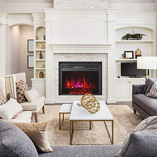 Embedded Electric Fireplace Insert with Remote Control, Recessed Electric Stove Heater, Auto Over-Heat Kill Switch
