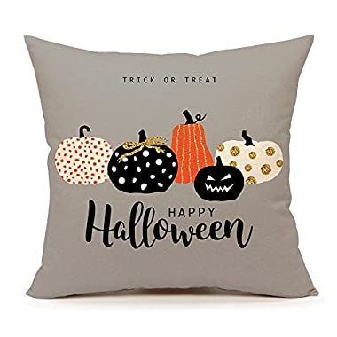 4TH Emotion Halloween Pumpkin Throw Pillow Cover Cushion Case Sofa Couch 18  x 18  Inch Cotton Linen(Trick Treat)