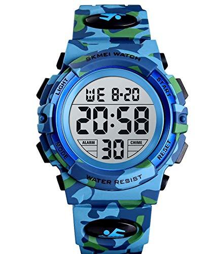 Montre Enfant Digital KZKR Montre Garcon Sports Retroeclairage Alarme Montre Enfant Garcon Silicone 12/24h Time-Teacher Camouflage Bleu 7-15ans