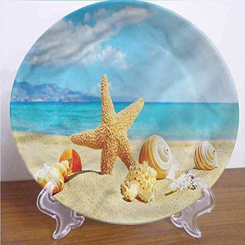 Channing Southey 8 Inch Seashells 3D Printed Decorative Plate,Beach Sand with Starfish Ceramic Stoneware Decorative Plate Decor Accessory for Dining Table Tabletop Party Kitchen Home Decor