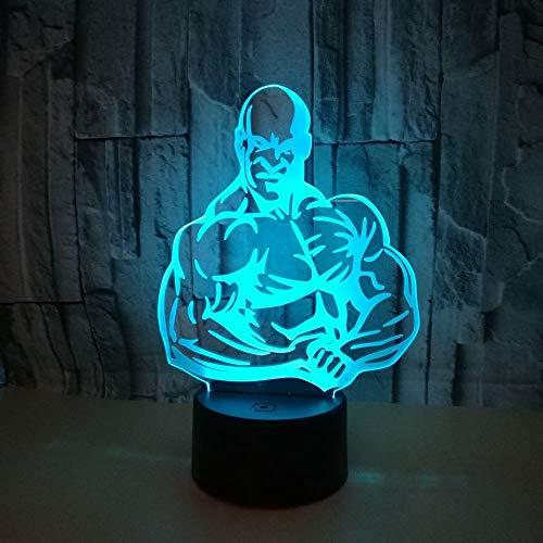 Neue Kreative Muskel 3D Stereo Vision Touch Nachtlicht Sport Geschenk Usb 3D Tischlampe Kinderzimmer Dekoration Fernbedienung