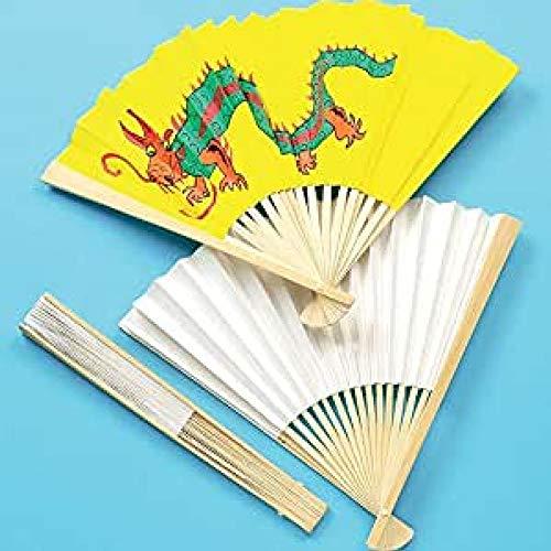 Baker Ross Fächer in weiß - zum Bemalen für Kinder - toll für den Sommer und im Karneval - 4 Stück