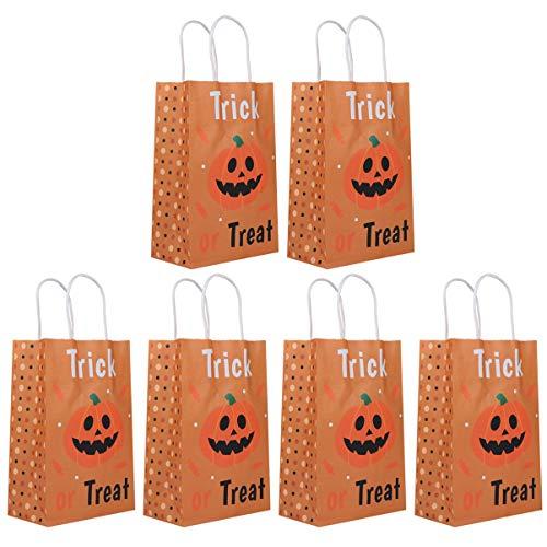 EXCEART Halloween Handtassen 6 Stks Kraftpapier Kids Snoepzakjes Kinderen Cadeaupapier Tassen