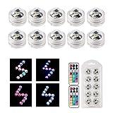 Bazaar 10 bunte LED-Tauchkerzen mit Fernbedienung, wasserfest, für Hochzeit, Party, Weihnachten,