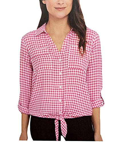 Jones New York Women's Front Tie Button Down Blouse Top (Baby Gingham Pink, X-Large)