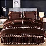Velvet Flannel Bettwäscheset,Crystal Fleece-Bett vierteiliges Set, Bettdecke aus dickem Korallenvlies im Rock-Stil, extragroße Bettwäsche-G_1,2m Bett 4 Stück