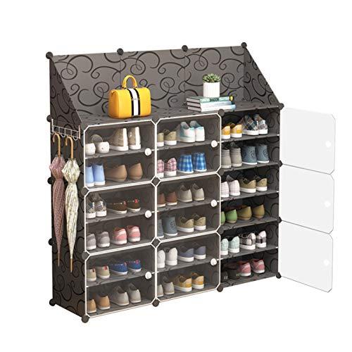 Jianghuayunchuanri Zapatero para zapatos, portátil, sala, pasillo con puertas, zapatos, accesorios para encontrar fácilmente tus propios zapatos (color: negro, tamaño: 126 x 31 x 127 cm)
