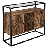 VASAGLE Storage Cabinet, Entryway Sofa Table with Tempered Glass Top and Open Compartments, Hallway, Living Room, Rustic Brown and Black ULSC014B01