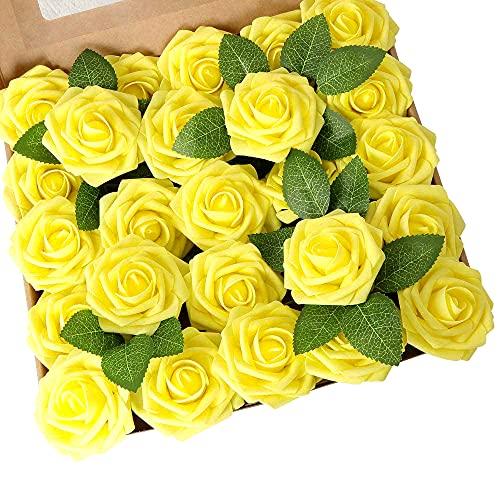 Ruiuzioong Künstliche 25 Stück Rosen Blumen Schaumrosen Foamrosen Kunstblumen Rosenköpfe Gefälschte Kunstrose Rose für Hochzeit Blumensträuße Braut Zuhause Dekoration (Gelb, 25 Stück)