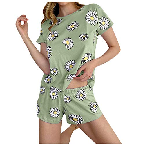 Janly Clearance Sale Pijama para mujer, para verano, para mujer, niña, manga corta, pantalones cortos para uso en el hogar, pijama (verde/3XL)