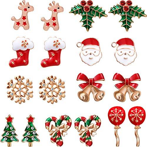 9 Pares de Pendientes de Navidad Juego de Pernos de Orejas de Fiesta con Papá Noel Campana Ciervo Árbol de Navidad para Mujeres Chicas