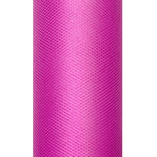 Party Décoration Mariage - Bobine de tulle fuchsia uni 20 mètres x 8cm bobine de 20 mètres largeur 8 cm