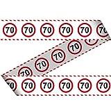 Udo Schmidt GmbH & Co Cinta de seguridad 70 – 15 m de largo, decoración para 70 cumpleaños, cinta de seguridad de plástico estampada con señal de tráfico número 70