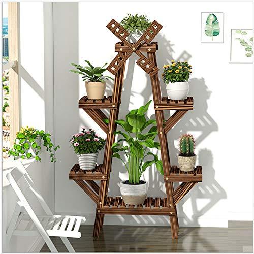 Rotando el soporte de la flor del jardín del molino de viento, el marco de flores de madera deslizable, con tres conjuntos de traje de jardinería, utilizado en jardines interiores y exteriores,A type