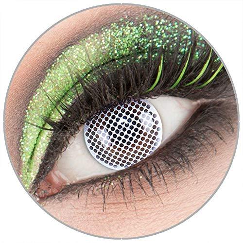 Farbige weiße weisse 'White Screen' Kontaktlinsen ohne Stärke 1 Paar Crazy Fun Kontaktlinsen mit Behälter zu Fasching Karneval Halloween - Topqualität von 'Giftauge'