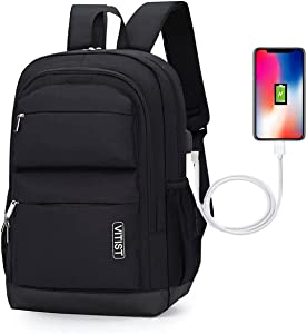 Laptop Backpack Travel Purse for Women Men Casual Daypack Backpacks Hiking School Backpack Student Waterproof Anti Theft Business with USB Charging Port Fits 15.6 Inch Notebook Black