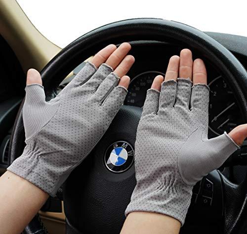 2 Pairs Sun Protection Gloves for Men Lightweight Washable Fingerless Hiking Driving Fishing Running Riding Climbing (Medium, Light Grey)