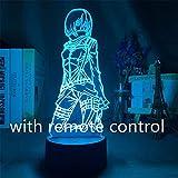 Attack on Titan Anime Figuras 3D LED Levi Mikasa Ackerman Eren Jaeger Luces nocturnas Modelo Acción Cambio de Color Figma Juguetes Muñeca