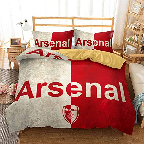 Duvet Cover Super King Size 260 x 240 cm Bedding set Microfiber 3 pieces with 2 Pillowcases 50 x 90 cm with Zipper Arsenal Football Club printing Duvet Cover set