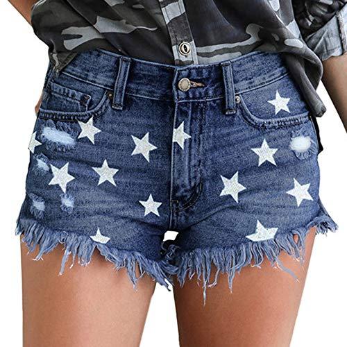 XOXSION Pantalones vaqueros cortos de verano para mujer, ligeros, con estampado vaquero, para la playa, informales, para verano, para la playa (azul, XXL)