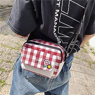 Fashion Single-Shoulder Bags Fresh Simple Lattice Pattern Cute Lollipop Decoration Canvas Shoulder Bag Casual Ladies Messenger Bag (Black) (Color : Red)