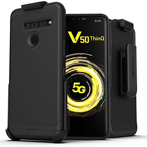 Encased LG V50 ThinQ Belt Clip Case (Thin Armor) Slim Grip Cover with Holster - Black