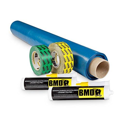BMD 50m² Dampfbremssystempaket nach DIN 4108 Teil 7 & ENEV Dampfsperrfolie Dampfbremsfolie Dampfbremse Dampfsperre Klebeband Folienkleber CE Siegel