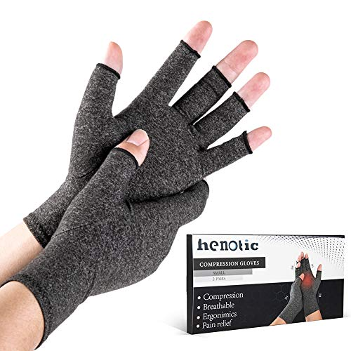 2 Pairs Arthritis Compression Gloves for Women Men, Fingerless Breathable & Moisture Wicking Compression Gloves for Relieving Carpal Tunnel Aches, Rheumatoid Pains, Joint Swell