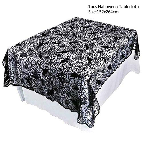 WUJIANCHAO 1 Stück Halloween Dekoration Spitze Gestrickt Spinnennetz Tischdecke Tischläufer Tisch Flagge Kamin Mantel Home Kitchen Party Supply
