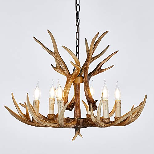 Antler Chandelier 6 Light Vintage Style Resin 28 Inch Large Faux Chandeliers American Countryside Deer Horn Lamps for Living Room, Bar, Cafe, Kitchen, Dining Room